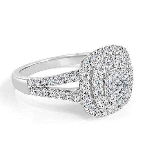 Double Halo Diamond Engagement Ring With Split Shank
