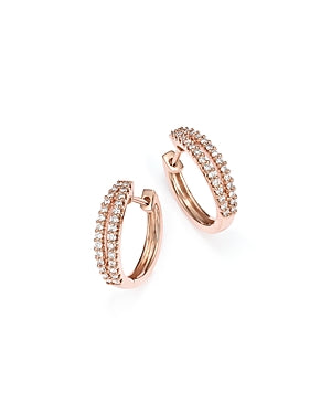 Split Diamond Rose Gold Hoop Earrings
