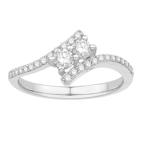 Two-stone Diamond Ring With Diamond Curved Band