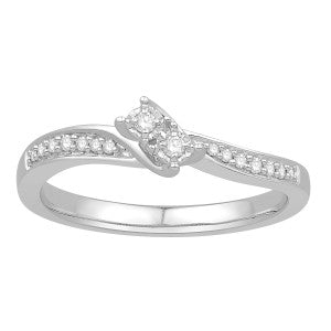 Two Stone Diamond Ring With Curved Diamond Band