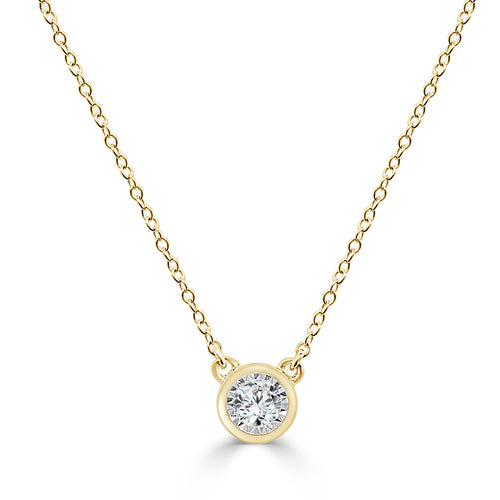 Diamond 0.10 Carat Miracle Yellow Gold Necklace