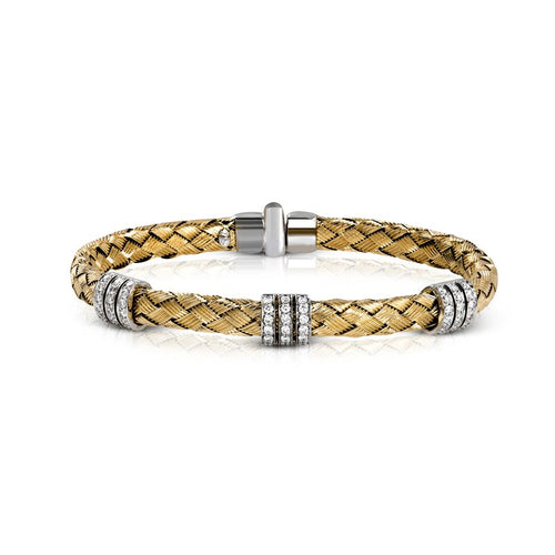Simon G. Caviar Collection Gold Woven Bracelet With Diamond Accents
