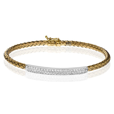 Simon G. Woven Gold And Diamond Bangle