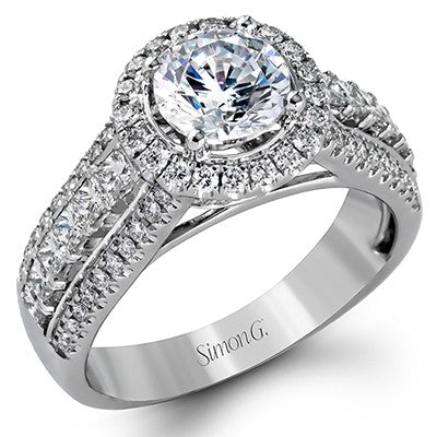 Simon G Passion Collection Round And Princess Cut Diamond Halo Engagement Ring