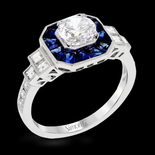 Simon G. Classic Romance Colle Caration Sapphire Halo Engagemnt Ring