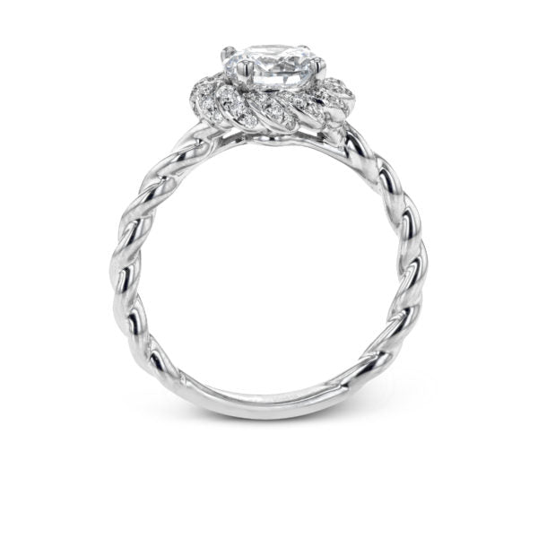 Simon G. Classic Romance Colle Caration Twist Shank Diamond Halo Engagement Ring