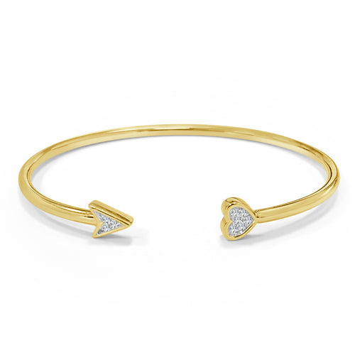Gold Heart And Arrow Flex Diamond Bangle