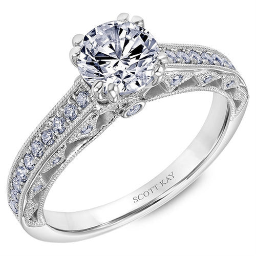 Eight Prong Solitaire With Fancy Diamond Antique Band
