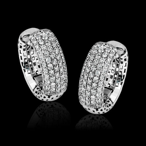 Simon G. Caviar Colle Caration Pave Dome Hoop Earrings