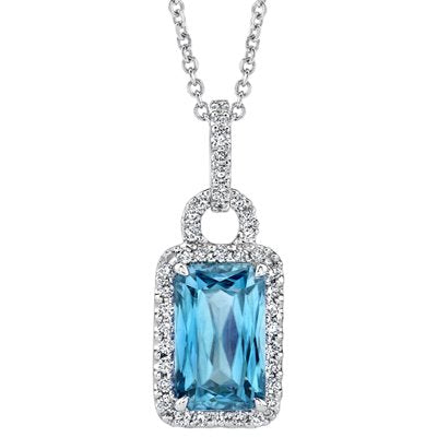 Simon G. Blue Zircon And Diamond Halo Pendant