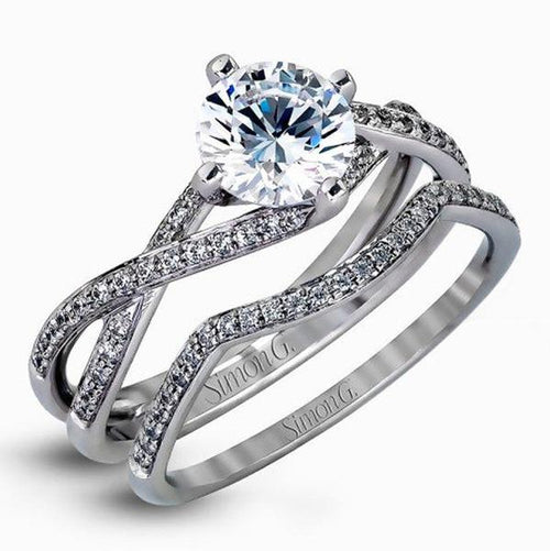 Simon G. Delicate Twist Solitaire Wedding Set