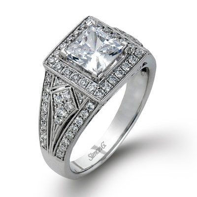 Simon G Princess Cut Diamond Halo Engagement Ring With Milgrain