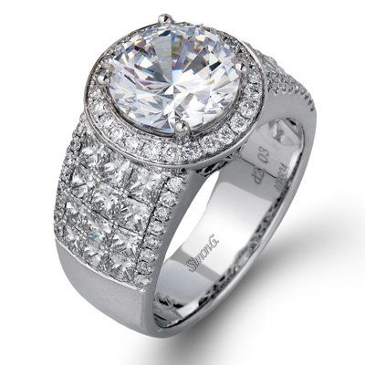 Simon G. No Caraturnal Colle Caration Princess Cut And Round Diamond Halo Ring