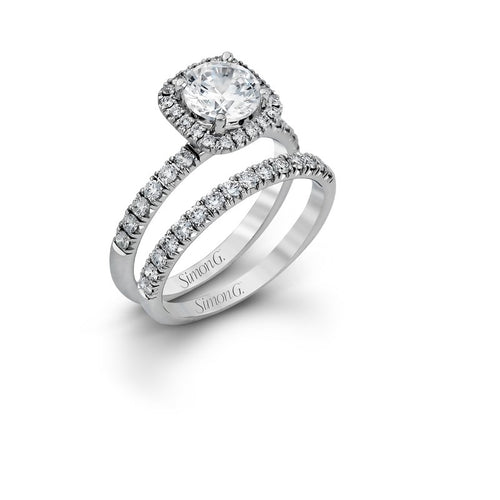 Simon G Passion Collection Diamond Halo Wedding Set