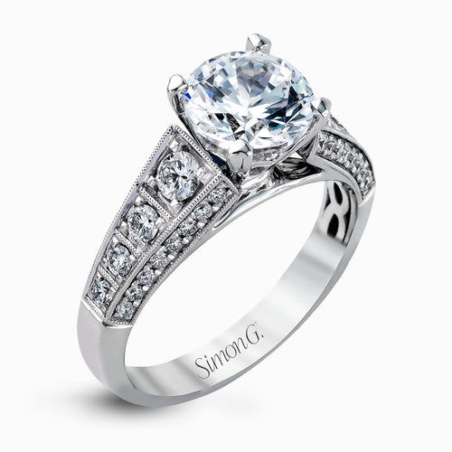 Simon G Caviar Collection Tapered Round Diamond Solitaire Engagement Ring