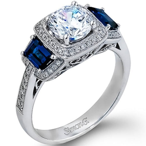 Simon G. Passion Collection Three Stone Sapphire And Diamond Engagement Ring