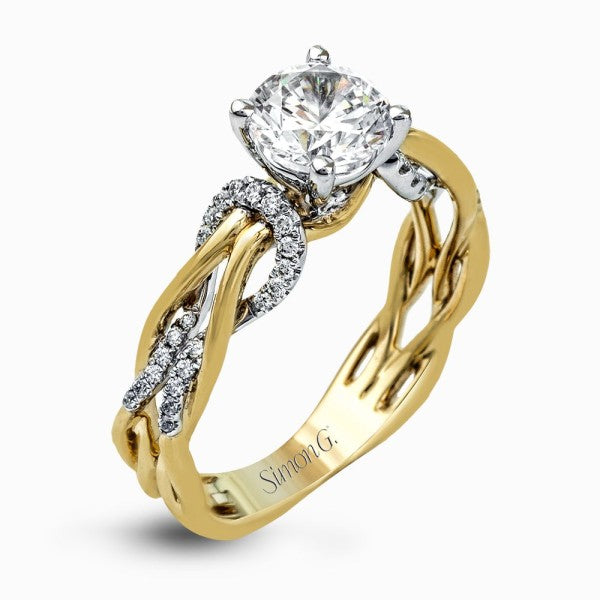 Simon G. Two Tone Twisted Diamond Engagement Ring