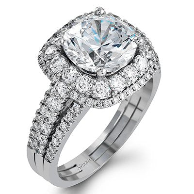 Simon G. Passion Colle Caration Triple Shank Halo Engagement Ring