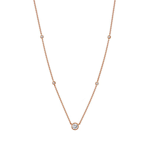 Lafonn Rose Tone Station Necklace