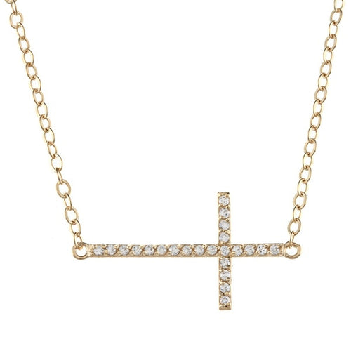 Lafonn Gold Tone Sideways Cross Necklace