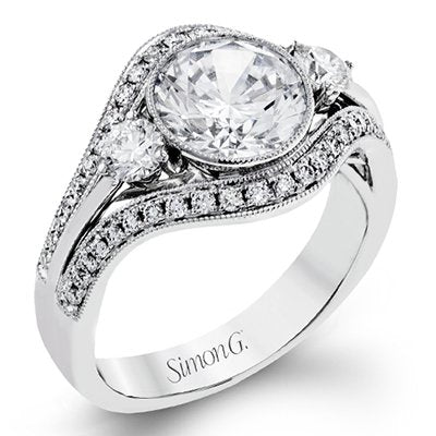 Simon G. Bezel And Prong Set Fancy Engagement Ring
