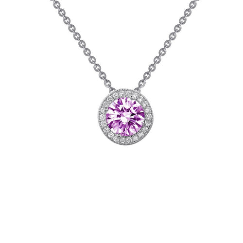Lafonn Pink Stone Halo Necklace