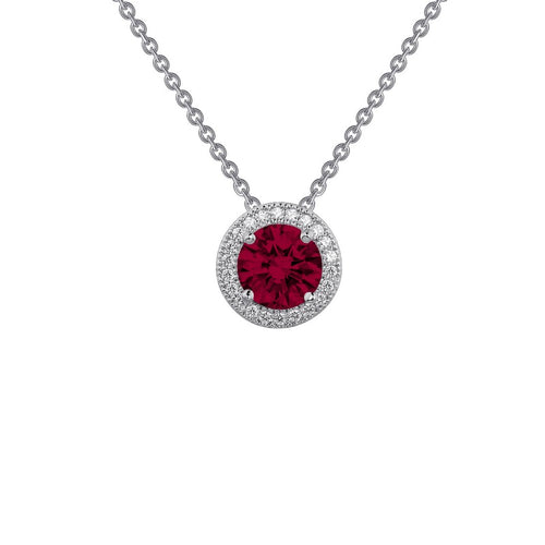Lafonn Red Stone Halo Necklace