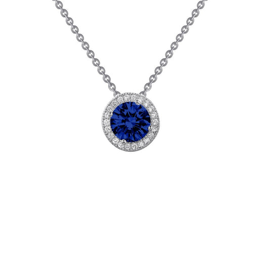 Lafonn Blue Center Stone With White Halo Necklace