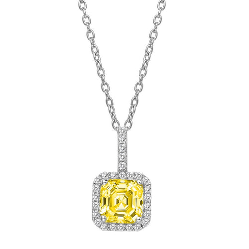 Lafonn Fancy Yellow Asscher And Simulated Diamond Halo Necklace
