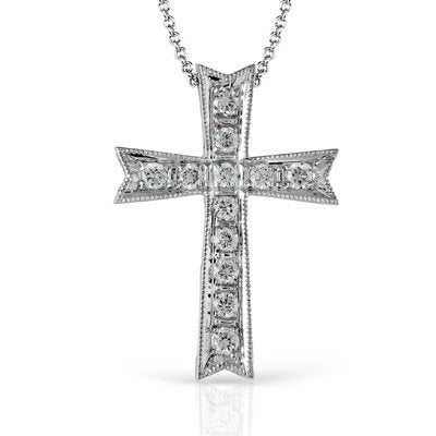 Simon G. Diamond And Milgrain Cross Pendant