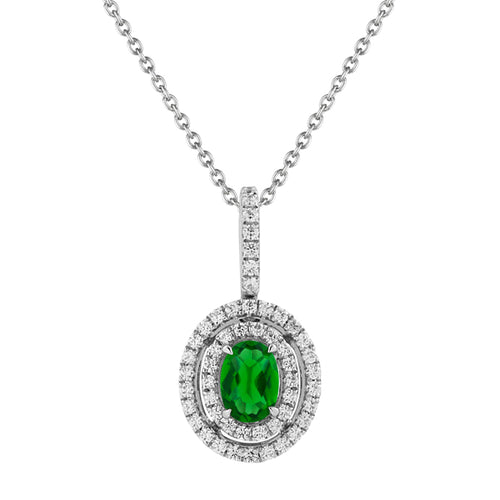 Fana Emerald And Diamond Double Halo Necklace