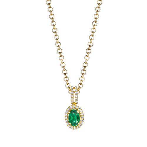 Fana Oval Emerald And Diamond Necklace