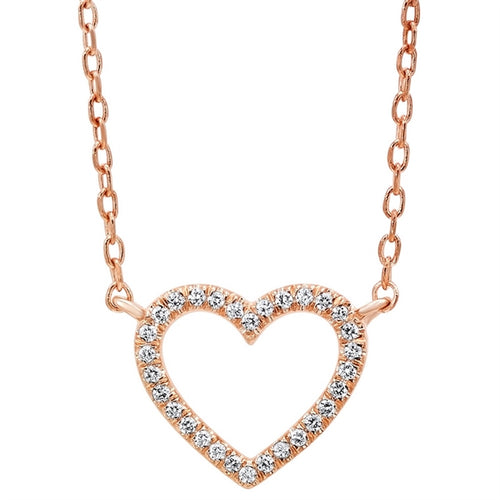 Open Heart Diamond Necklace In Rose Gold