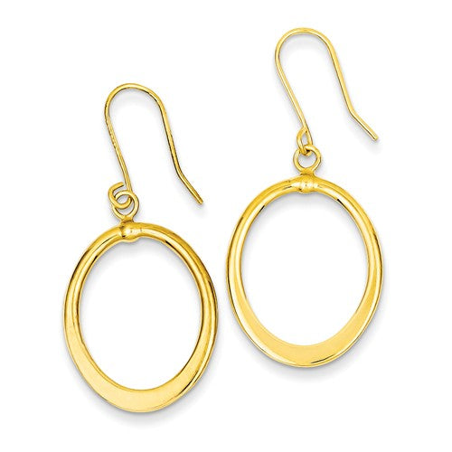 Polished Tapered Flat Oval Dangle Earrings