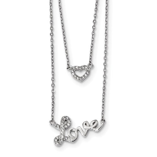 Love And Heart Double Strand Layered Necklace