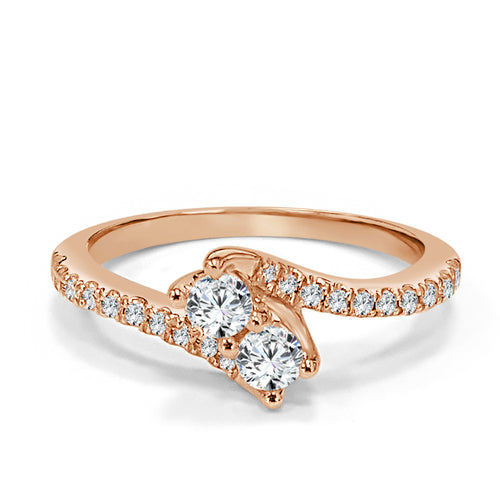 Rose Gold Two Stone Ring
