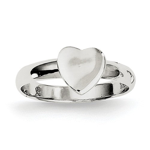 Sterling Silver Petite Childrens Heart Ring