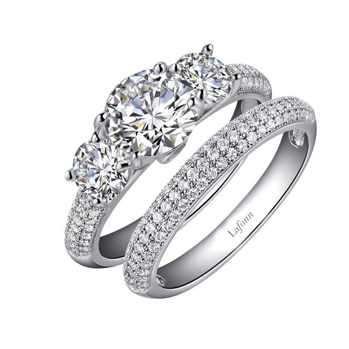 Lafonn 3 Stone Pave Wedding Set