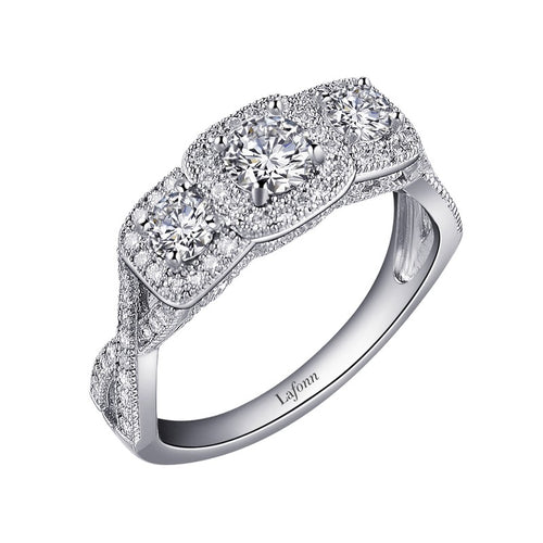 Lafonn 3 Stone Halo Ring With Twist Shank