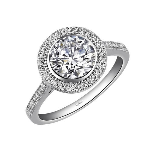 Lafonn Round Halo Ring With Diamond Band