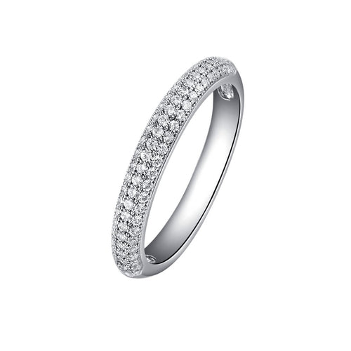 Lafonn Platinum Plated Three Row Pave Band