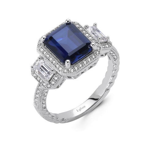 Lafonn Emerald Cut Blue Stone And Simulated Diamond 3 Stone Halo Ring