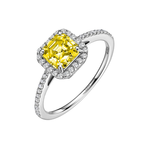 Lafonn Fancy Yellow Asscher Cut Halo Ring