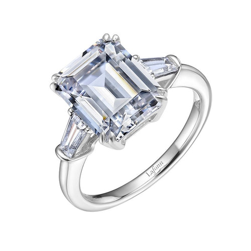Lafonn Emerald Cut Simulated Diamond Ring With Side Baguettes