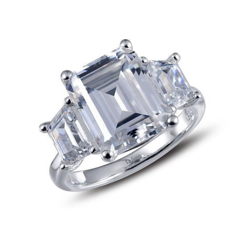 Lafonn Three Stone Emerald Cut Simulated Diamond Ring