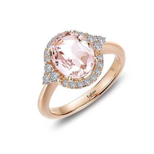 Lafonn Oval Simulated Morganite Fancy Halo Ring
