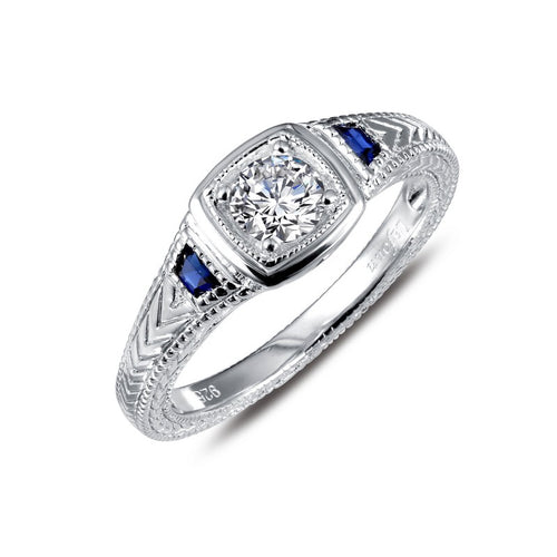 Lafonn Simulated Diamond And Sapphire Vintage Halo Ring