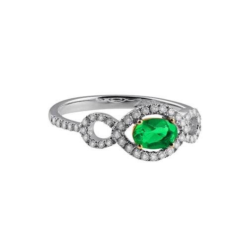 Fana Sideways Oval Emerald And Diamond Ring