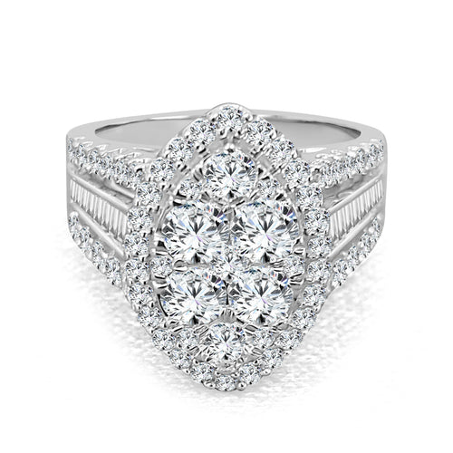 Marquise Shaped Halo Engagement Ring