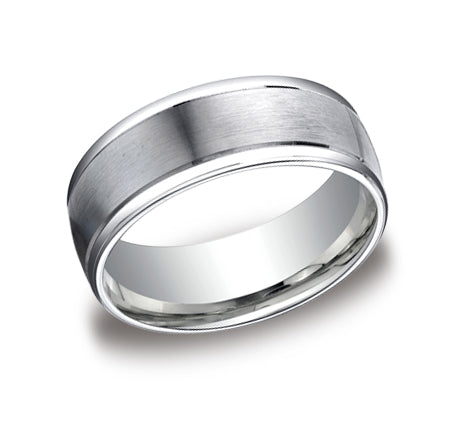 Satin Center Wedding Band